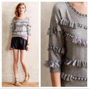 KNITTED & KNOTTED pom-pom fringe sweater Size M